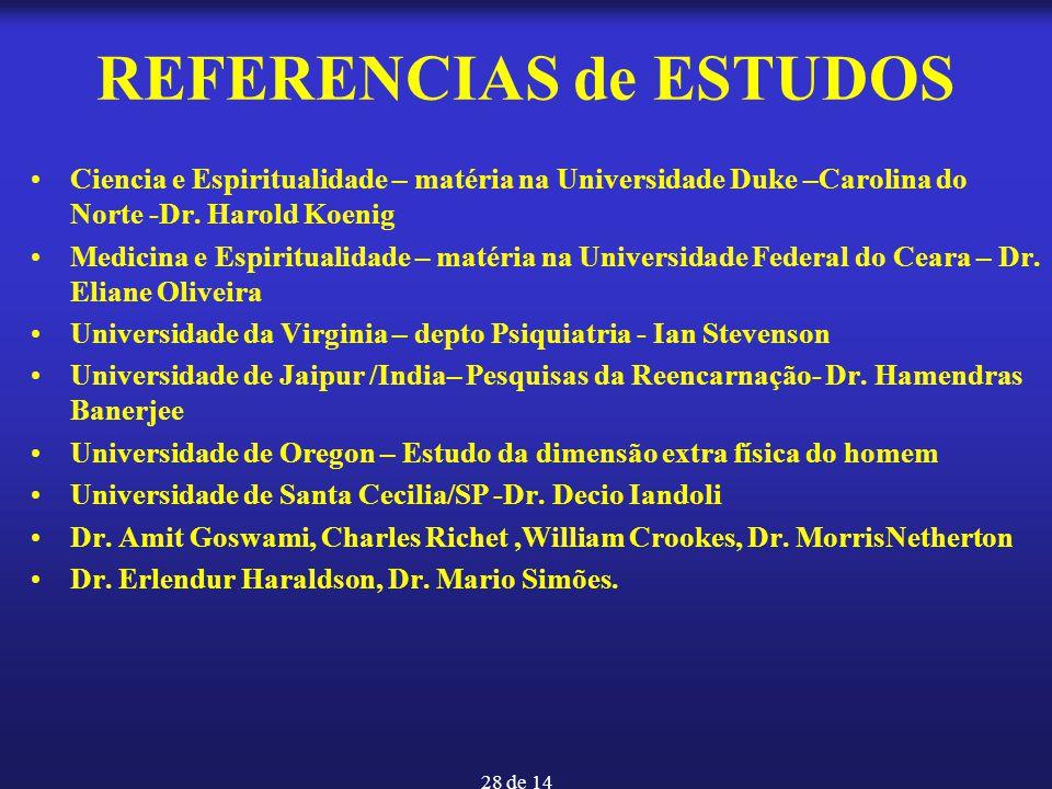 28 de 14 REFERENCIAS de ESTUDOS Ciencia e Espiritualidade – matéria na Universidade Duke –Carolina do Norte -Dr. Harold Koenig Medicina e Espiritualid