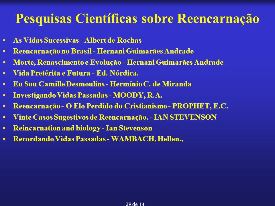 29 de 14 Pesquisas Científicas sobre Reencarnação As Vidas Sucessivas - Albert de Rochas Reencarnação no Brasil - Hernani Guimarães Andrade Morte, Ren