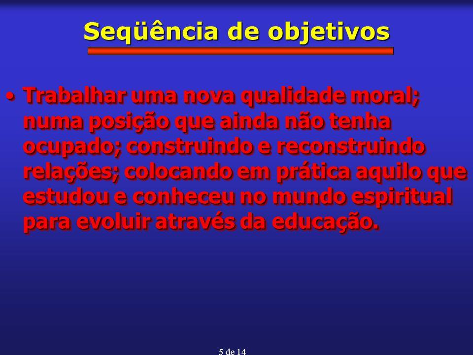 5 de 14 Seqüência de objetivos Trabalhar uma nova qualidade moral; numa posição que ainda não tenha ocupado; construindo e reconstruindo relações; col