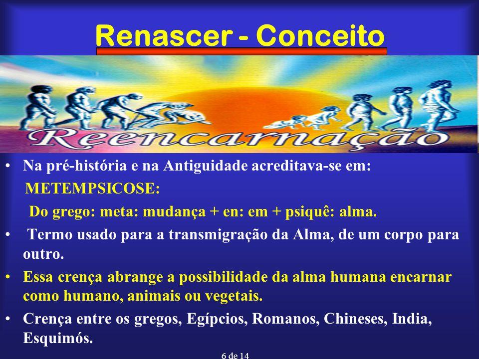 7 de 14 Renascer - Conceito PALINGENESIA: Do grego Palin -de novo + gênes nascimento Renascimento sucessivo do mesmo indivíduo, sempre de forma linear, progressiva até podendo ser estacionária, mas não retrógrada.