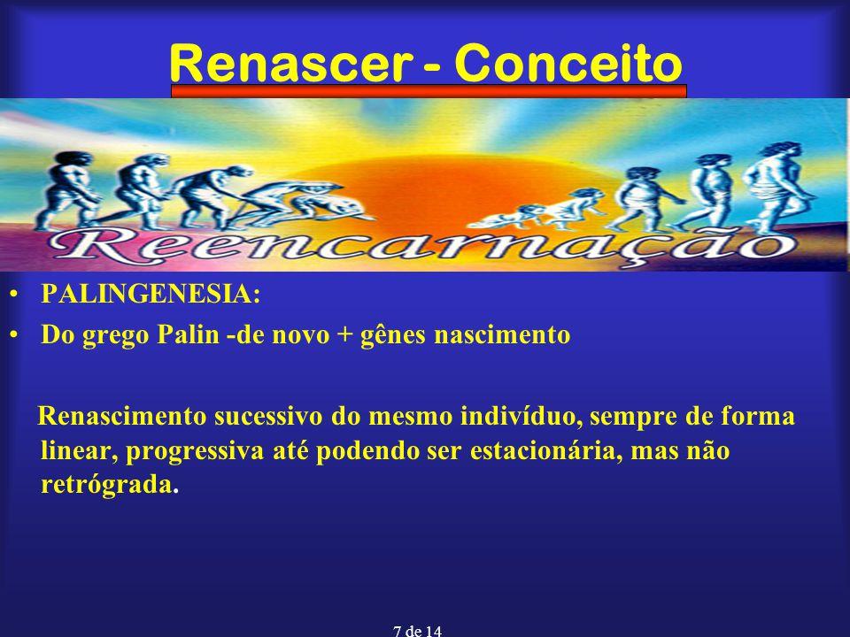 7 de 14 Renascer - Conceito PALINGENESIA: Do grego Palin -de novo + gênes nascimento Renascimento sucessivo do mesmo indivíduo, sempre de forma linear