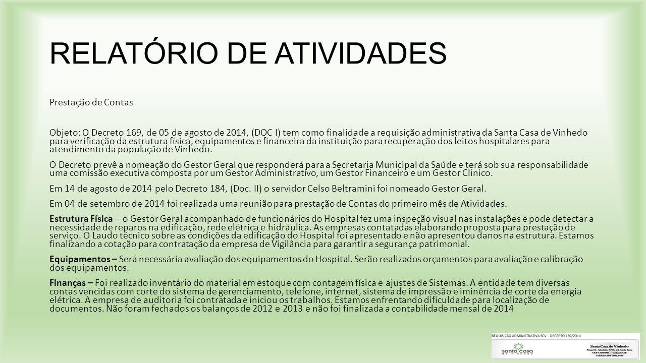 RELATÓRIO DE ATIVIDADES Prestação de Contas Objeto: O Decreto 169, de 05 de agosto de 2014, (DOC I) tem como finalidade a requisição administrativa da