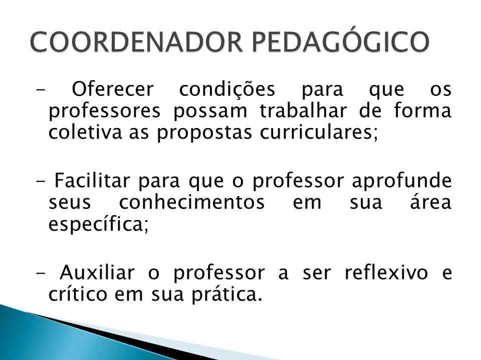 - Oferecer condições para que os professores possam trabalhar de forma coletiva as propostas curriculares; - Facilitar para que o professor aprofunde seus conhecimentos em sua área específica; - Auxiliar o professor a ser reflexivo e crítico em sua prática.