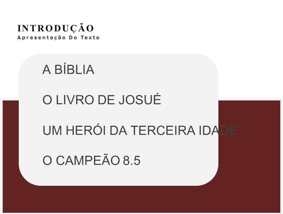 INTRODUÇÃO Apresentação Do Texto A BÍBLIA O LIVRO DE JOSUÉ UM HERÓI DA TERCEIRA IDADE O CAMPEÃO 8.5