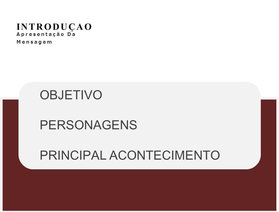 INTRODUÇAO Apresentação Da Mensagem OBJETIVO PERSONAGENS PRINCIPAL ACONTECIMENTO