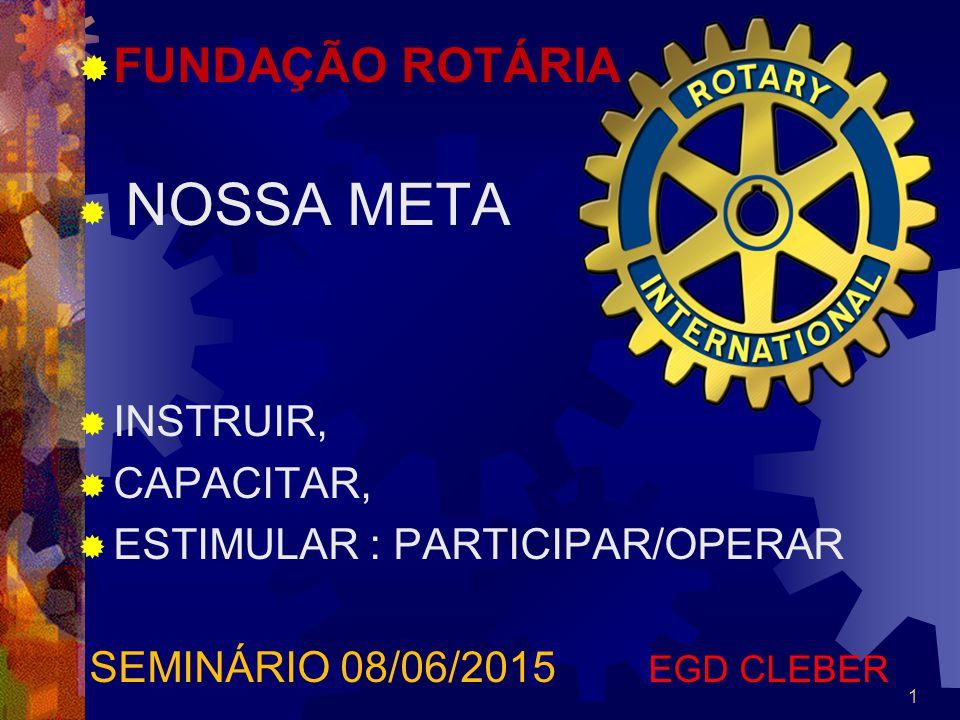  FUNDAÇÃO ROTÁRIA  NOSSA META  INSTRUIR,  CAPACITAR,  ESTIMULAR : PARTICIPAR/OPERAR SEMINÁRIO 08/06/2015 EGD CLEBER 1