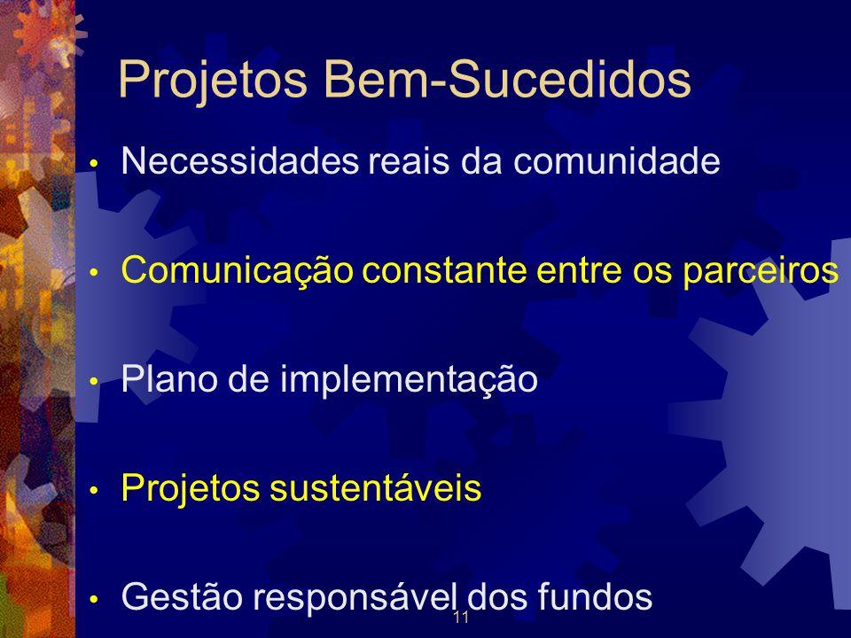 11 Projetos Bem-Sucedidos Necessidades reais da comunidade Comunicação constante entre os parceiros Plano de implementação Projetos sustentáveis Gestã