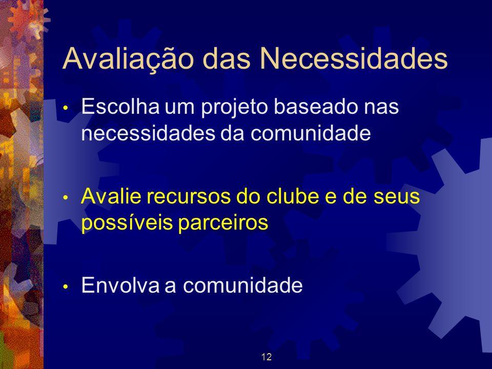 12 Avaliação das Necessidades Escolha um projeto baseado nas necessidades da comunidade Avalie recursos do clube e de seus possíveis parceiros Envolva
