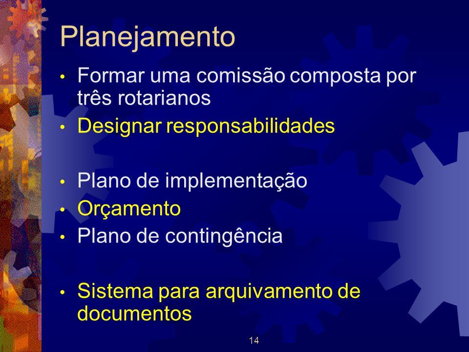 14 Planejamento Formar uma comissão composta por três rotarianos Designar responsabilidades Plano de implementação Orçamento Plano de contingência Sis