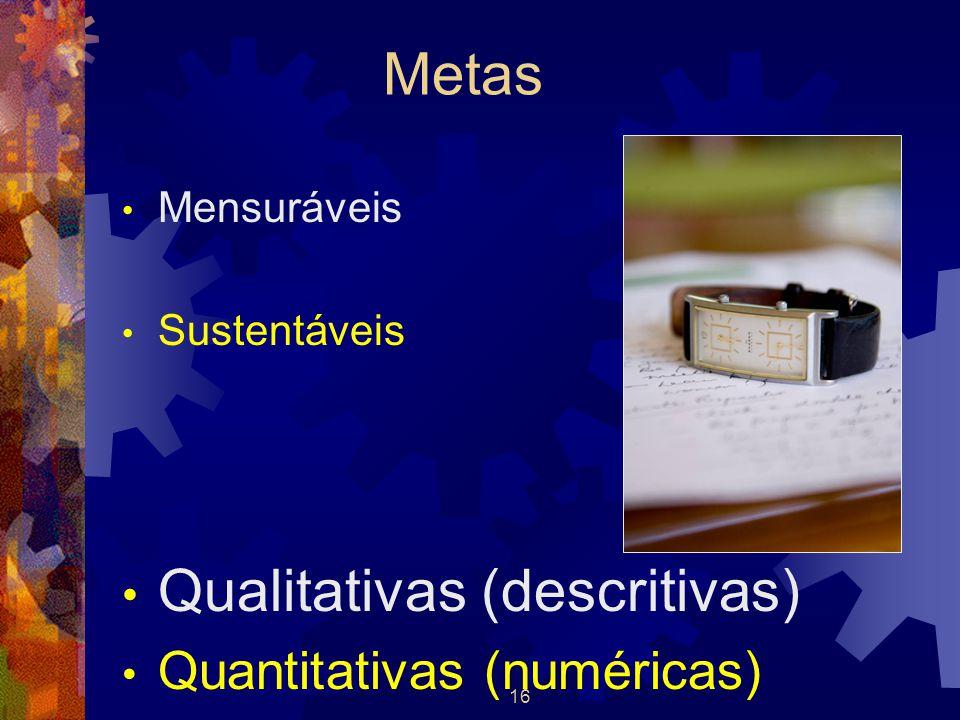 16 Metas Mensuráveis Sustentáveis Qualitativas (descritivas) Quantitativas (numéricas)