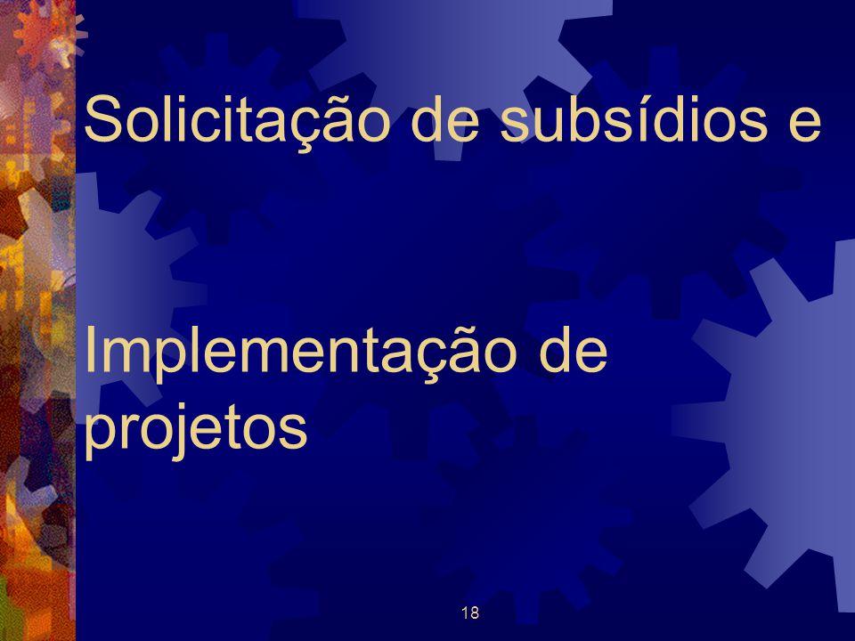 18 Solicitação de subsídios e Implementação de projetos