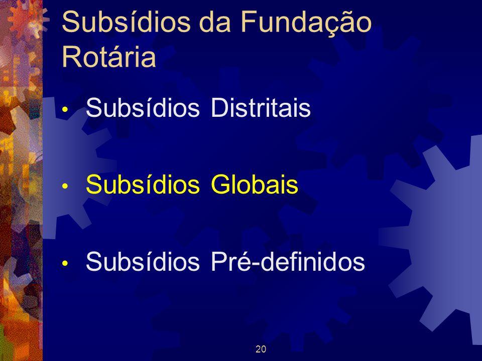 Subsídios da Fundação Rotária Subsídios Distritais Subsídios Globais Subsídios Pré-definidos 20