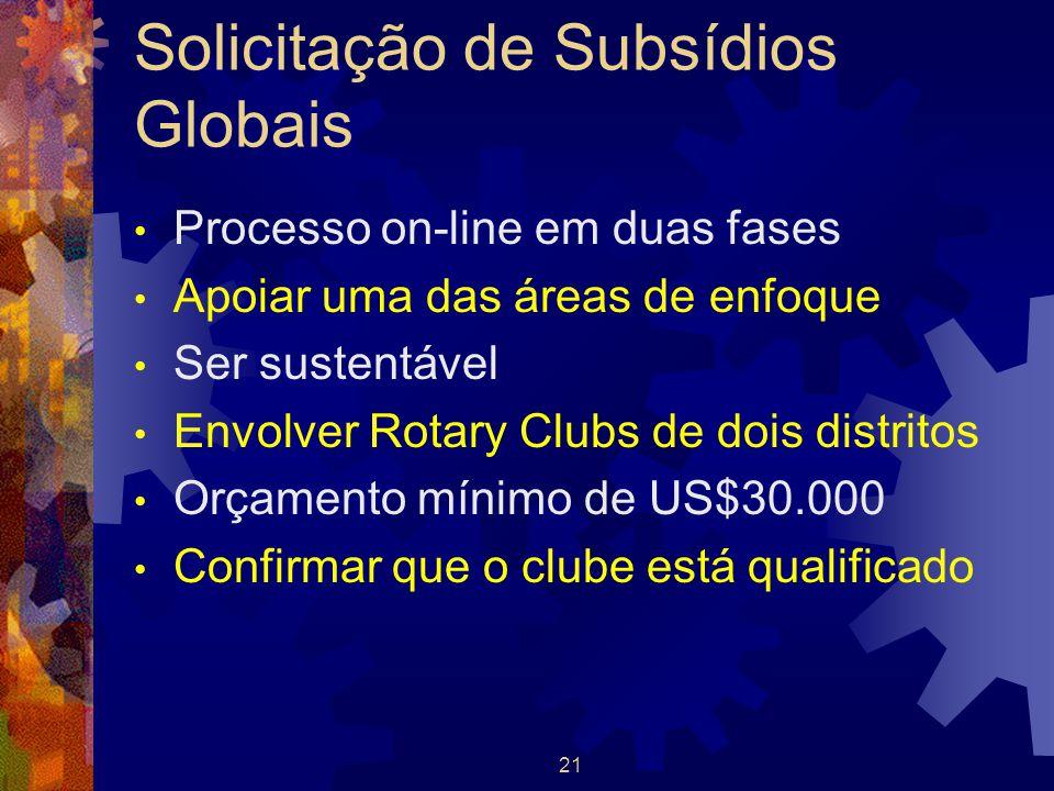 21 Solicitação de Subsídios Globais Processo on-line em duas fases Apoiar uma das áreas de enfoque Ser sustentável Envolver Rotary Clubs de dois distr