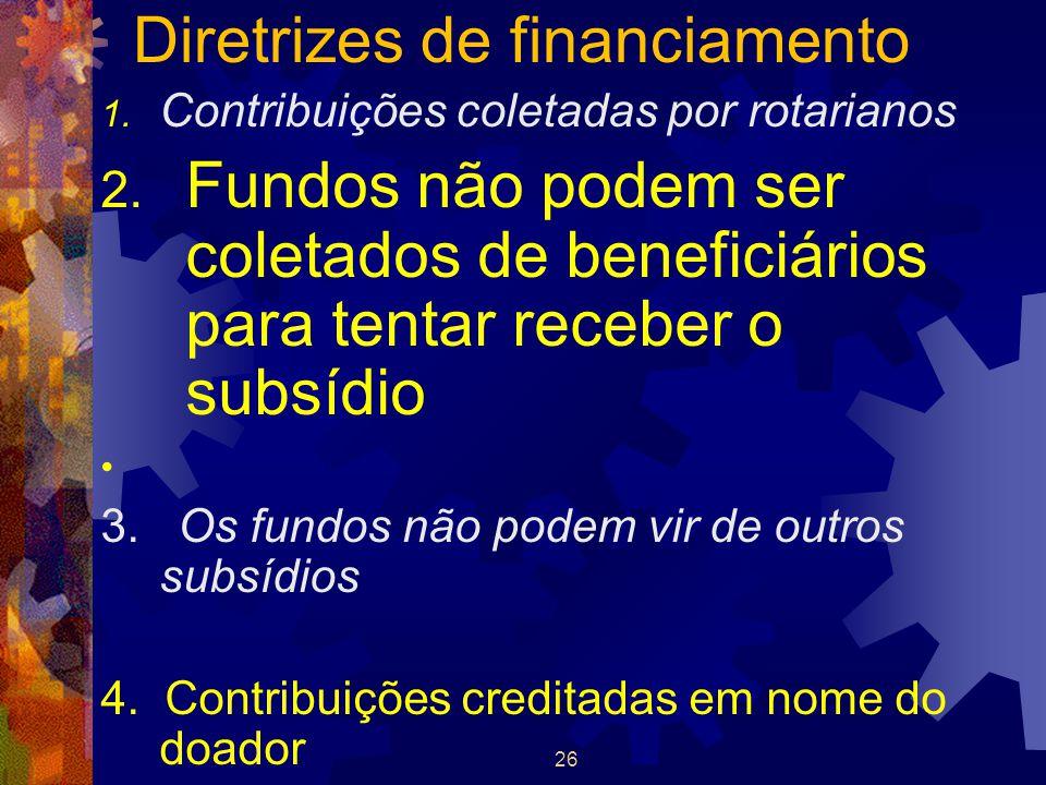 26 Diretrizes de financiamento 1. Contribuições coletadas por rotarianos 2. Fundos não podem ser coletados de beneficiários para tentar receber o subs