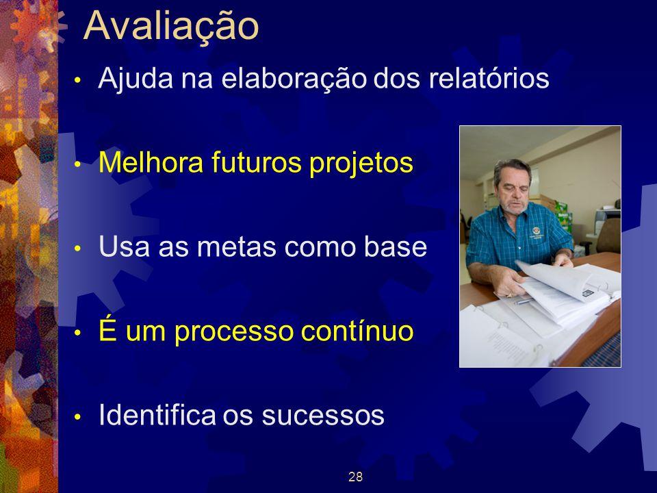 28 Avaliação Ajuda na elaboração dos relatórios Melhora futuros projetos Usa as metas como base É um processo contínuo Identifica os sucessos