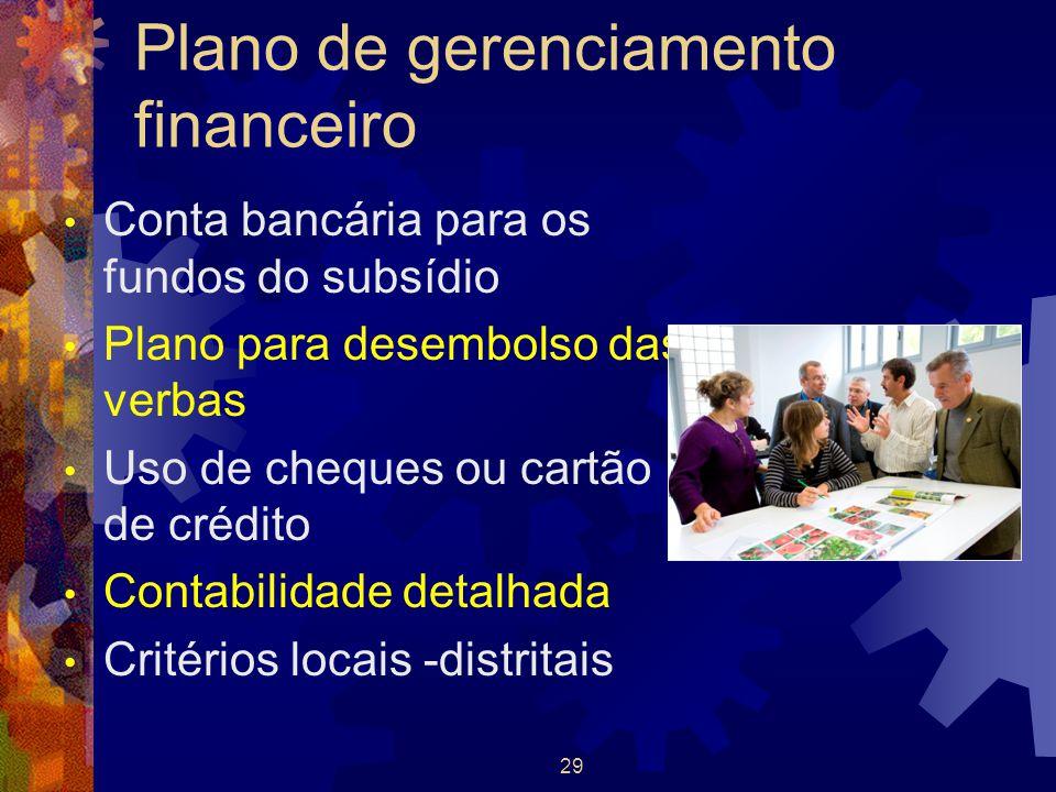 29 Plano de gerenciamento financeiro Conta bancária para os fundos do subsídio Plano para desembolso das verbas Uso de cheques ou cartão de crédito Co