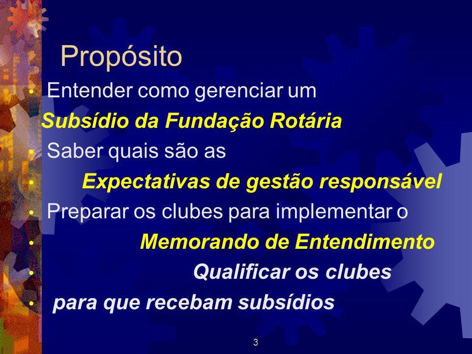 3 Propósito Entender como gerenciar um Subsídio da Fundação Rotária Saber quais são as Expectativas de gestão responsável Preparar os clubes para impl