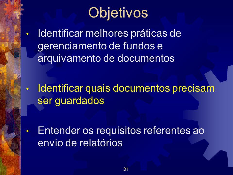 31 Objetivos Identificar melhores práticas de gerenciamento de fundos e arquivamento de documentos Identificar quais documentos precisam ser guardados