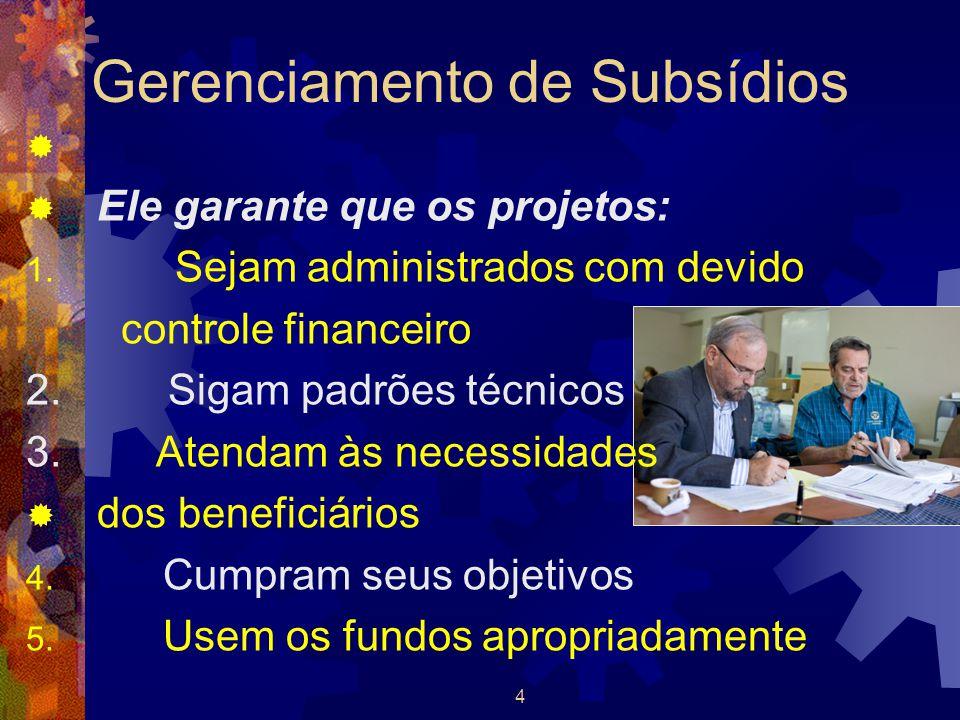 4 Gerenciamento de Subsídios   Ele garante que os projetos: 1. Sejam administrados com devido controle financeiro 2. Sigam padrões técnicos 3. Atend