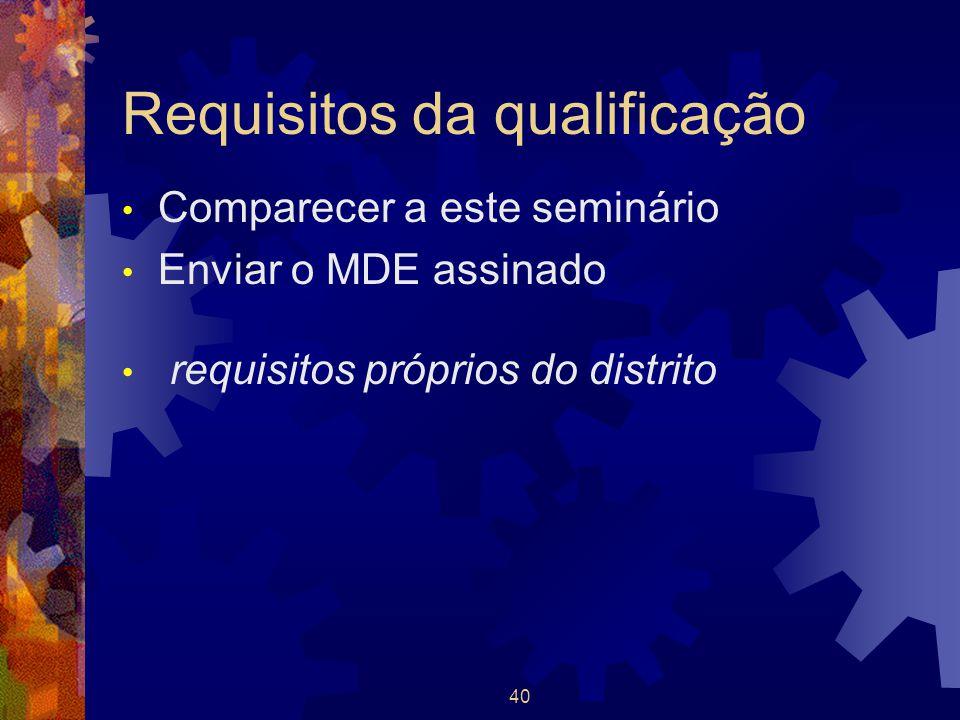 40 Requisitos da qualificação Comparecer a este seminário Enviar o MDE assinado requisitos próprios do distrito