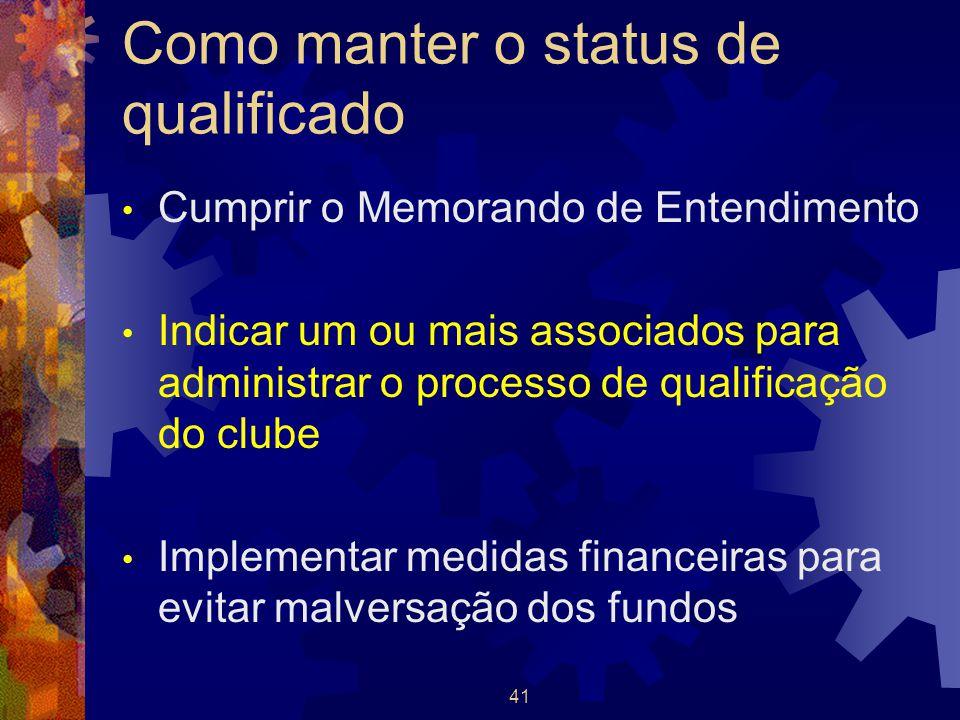 41 Como manter o status de qualificado Cumprir o Memorando de Entendimento Indicar um ou mais associados para administrar o processo de qualificação d