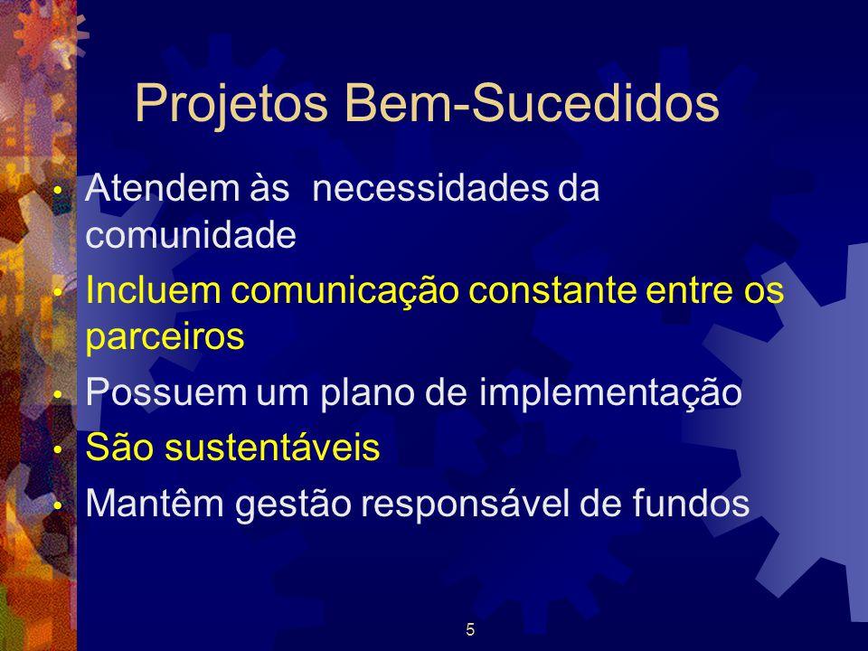 5 Projetos Bem-Sucedidos Atendem às necessidades da comunidade Incluem comunicação constante entre os parceiros Possuem um plano de implementação São