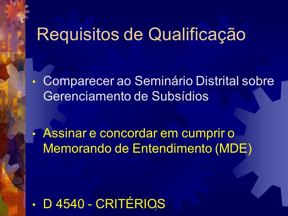7 Requisitos de Qualificação Comparecer ao Seminário Distrital sobre Gerenciamento de Subsídios Assinar e concordar em cumprir o Memorando de Entendim