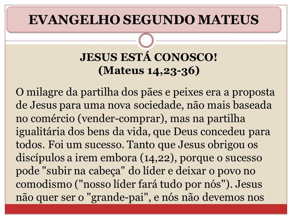 JESUS ESTÁ CONOSCO! (Mateus 14,23-36) O milagre da partilha dos pães e peixes era a proposta de Jesus para uma nova sociedade, não mais baseada no com