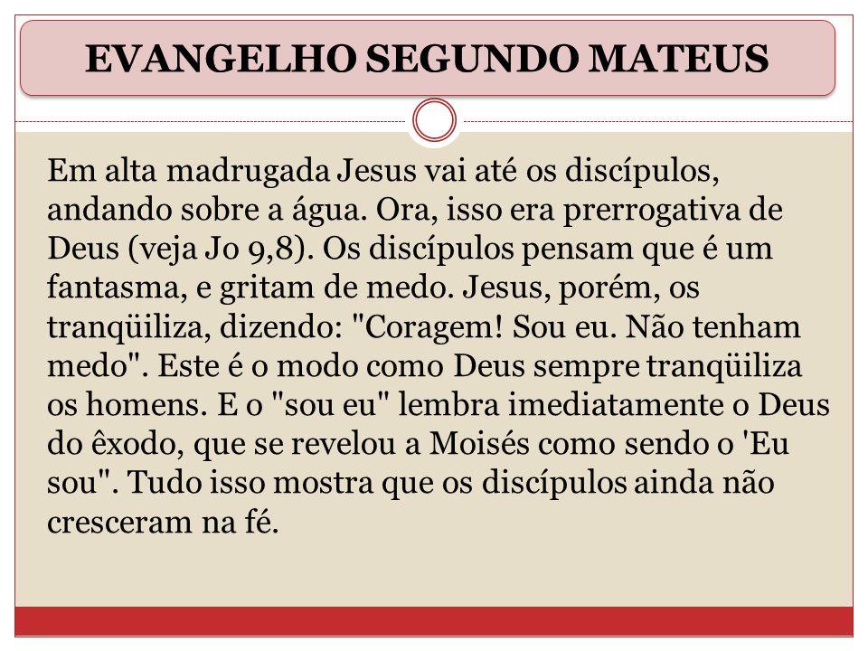 Em alta madrugada Jesus vai até os discípulos, andando sobre a água. Ora, isso era prerrogativa de Deus (veja Jo 9,8). Os discípulos pensam que é um f
