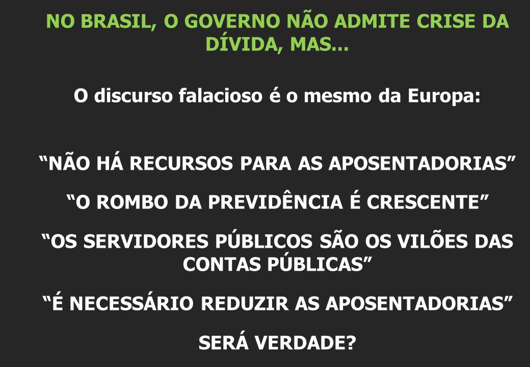 NO BRASIL, O GOVERNO NÃO ADMITE CRISE DA DÍVIDA, MAS...
