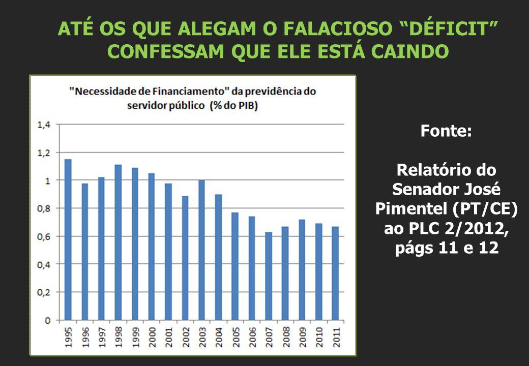 ATÉ OS QUE ALEGAM O FALACIOSO DÉFICIT CONFESSAM QUE ELE ESTÁ CAINDO Fonte: Relatório do Senador José Pimentel (PT/CE) ao PLC 2/2012, págs 11 e 12