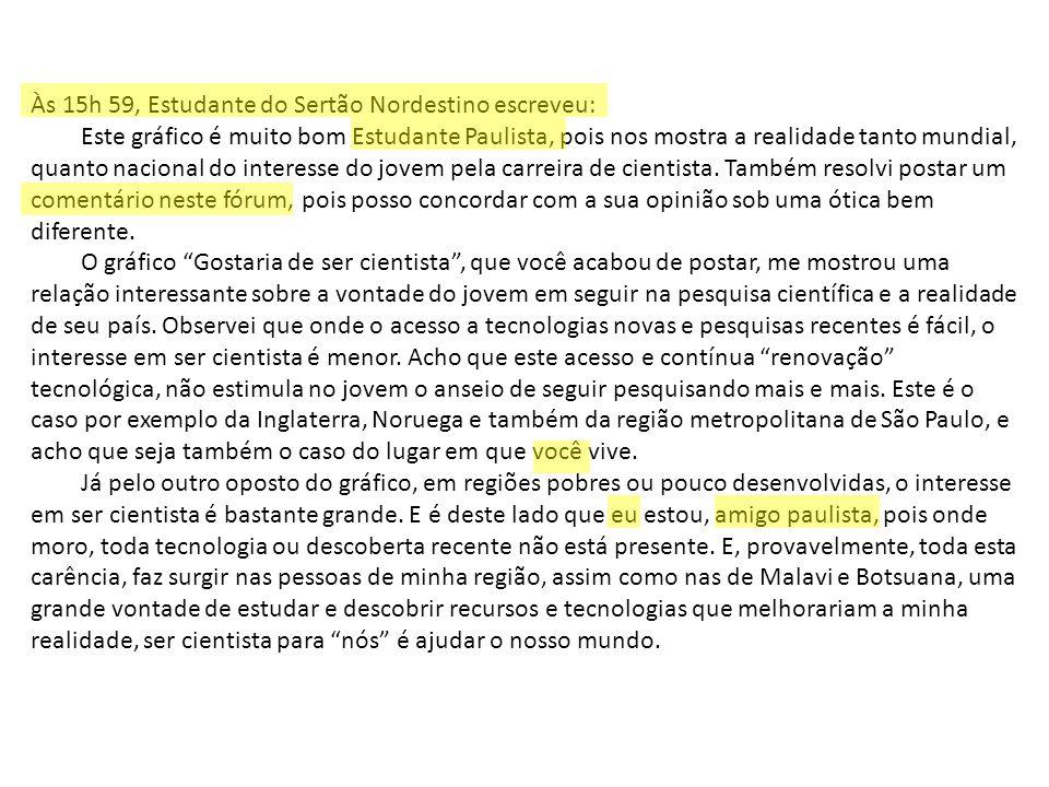 Às 15h 59, Estudante do Sertão Nordestino escreveu: Este gráfico é muito bom Estudante Paulista, pois nos mostra a realidade tanto mundial, quanto nac