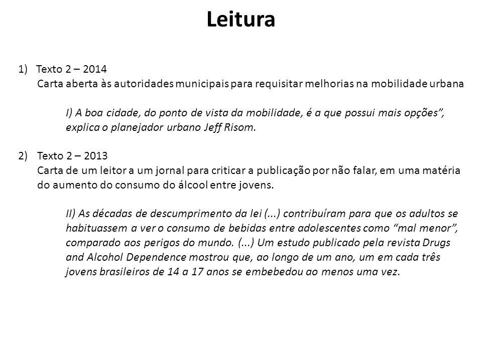 Leitura 1)Texto 2 – 2014 Carta aberta às autoridades municipais para requisitar melhorias na mobilidade urbana I) A boa cidade, do ponto de vista da m
