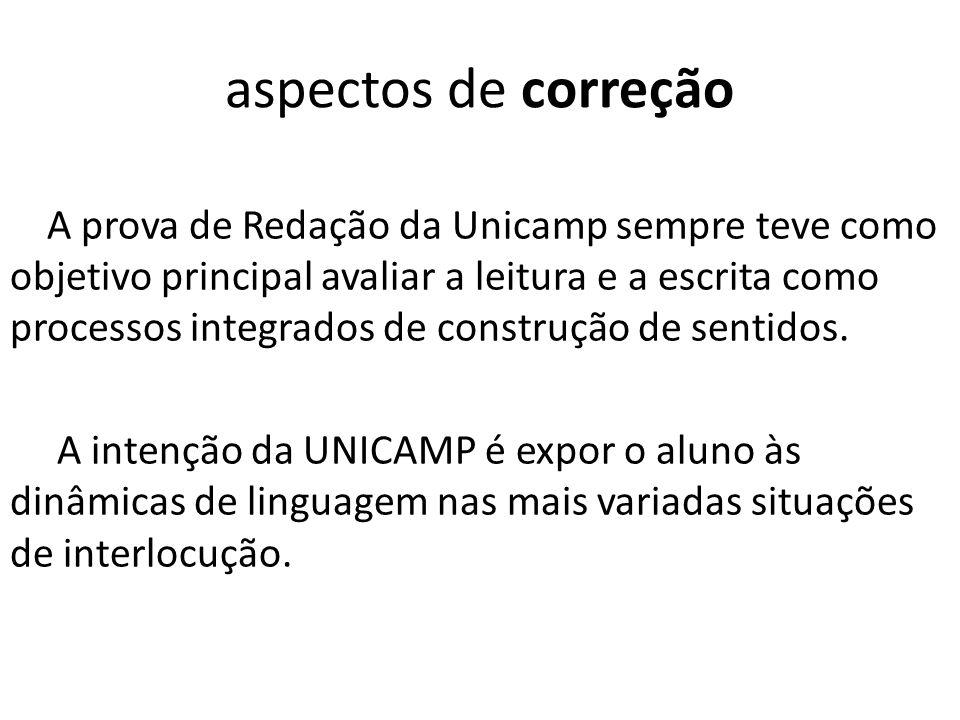 aspectos de correção A prova de Redação da Unicamp sempre teve como objetivo principal avaliar a leitura e a escrita como processos integrados de cons