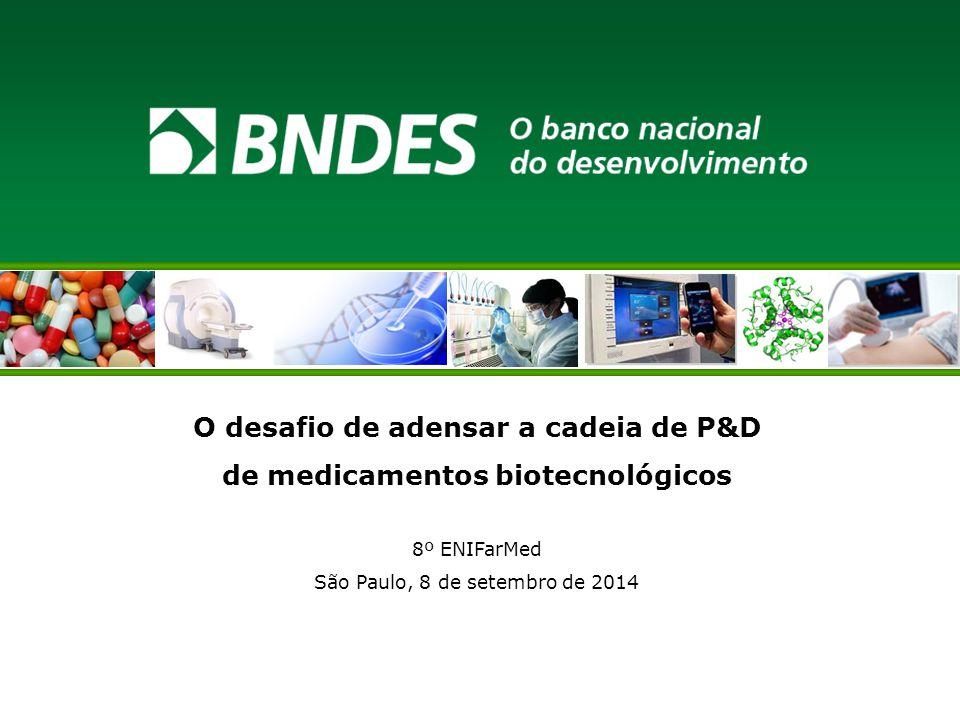O desafio de adensar a cadeia de P&D de medicamentos biotecnológicos 8º ENIFarMed São Paulo, 8 de setembro de 2014
