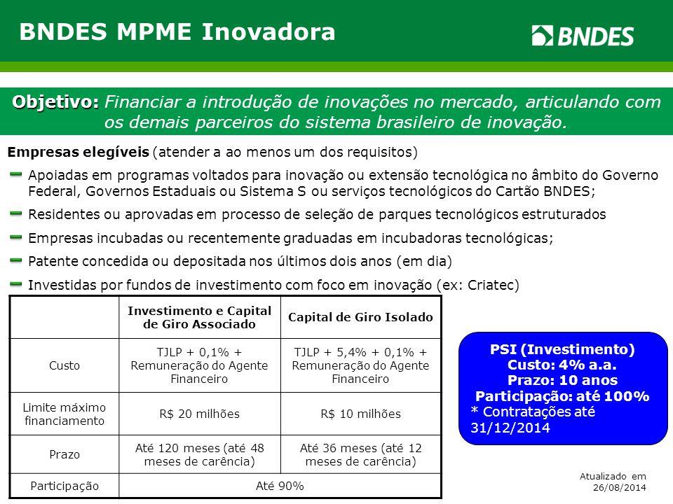 Objetivo: Objetivo: Financiar a introdução de inovações no mercado, articulando com os demais parceiros do sistema brasileiro de inovação. BNDES MPME