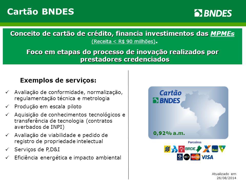 Cartão BNDES Conceito de cartão de crédito, financia investimentos das Conceito de cartão de crédito, financia investimentos das MPMEs (Receita < R$ 9