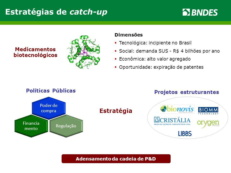 Estratégias de catch-up Dimensões  Tecnológica: incipiente no Brasil  Social: demanda SUS - R$ 4 bilhões por ano  Econômica: alto valor agregado 