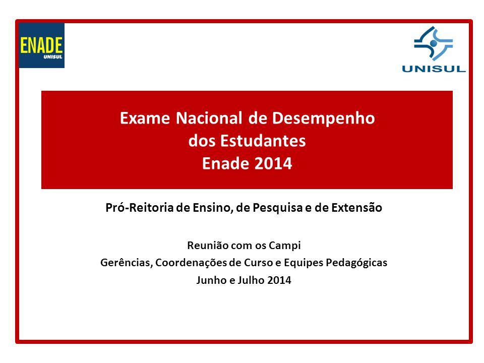 Exame Nacional de Desempenho dos Estudantes Enade 2014 Pró-Reitoria de Ensino, de Pesquisa e de Extensão Reunião com os Campi Gerências, Coordenações de Curso e Equipes Pedagógicas Junho e Julho 2014