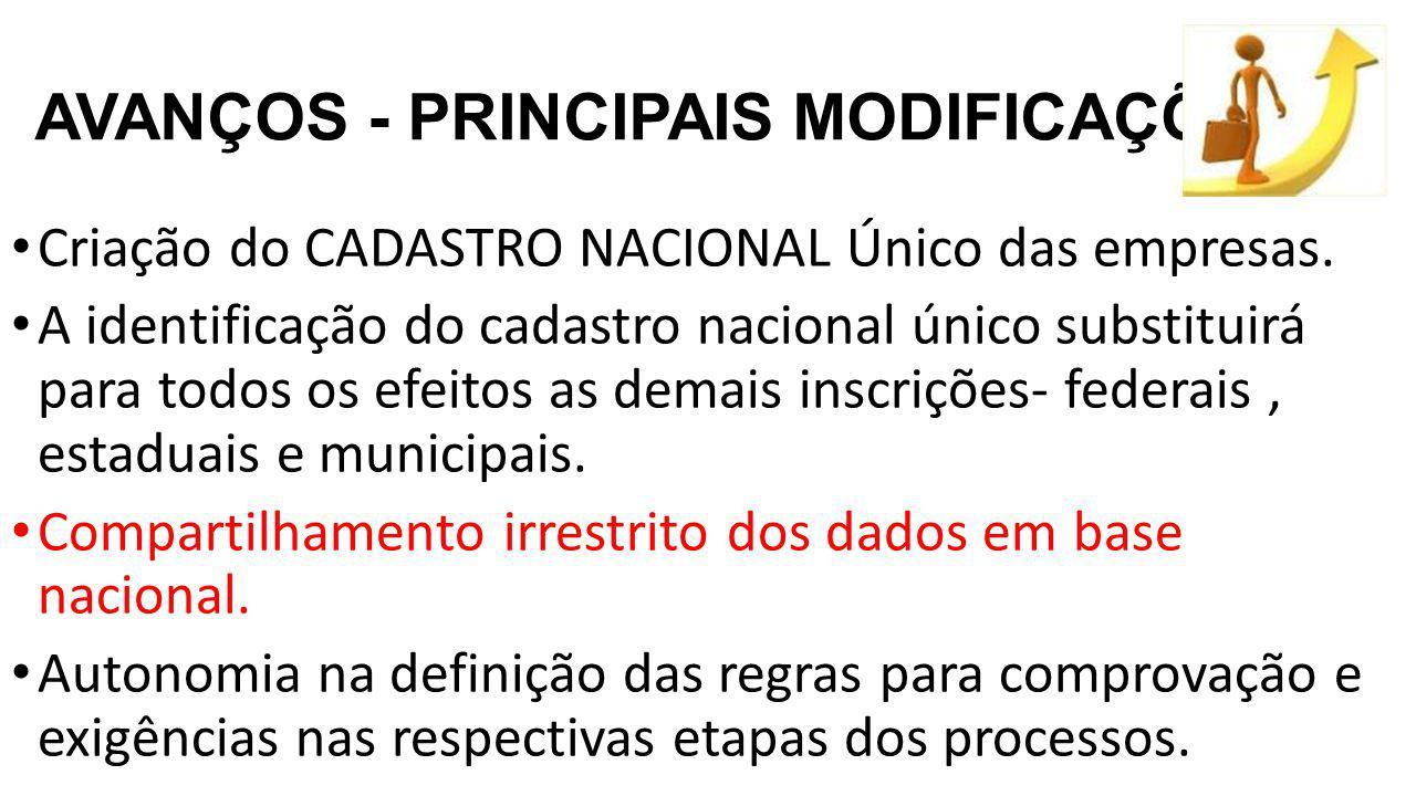 AVANÇOS - PRINCIPAIS MODIFICAÇÕES Criação do CADASTRO NACIONAL Único das empresas.