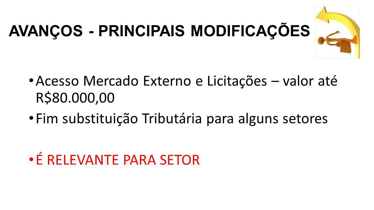 AVANÇOS - PRINCIPAIS MODIFICAÇÕES Acesso Mercado Externo e Licitações – valor até R$80.000,00 Fim substituição Tributária para alguns setores É RELEVANTE PARA SETOR