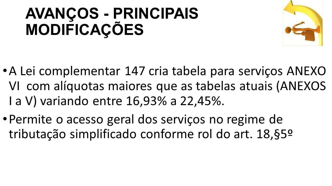 AVANÇOS - PRINCIPAIS MODIFICAÇÕES A Lei complementar 147 cria tabela para serviços ANEXO VI com alíquotas maiores que as tabelas atuais (ANEXOS I a V) variando entre 16,93% a 22,45%.