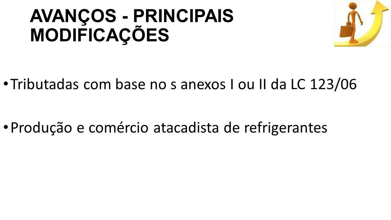 AVANÇOS - PRINCIPAIS MODIFICAÇÕES Tributadas com base no s anexos I ou II da LC 123/06 Produção e comércio atacadista de refrigerantes