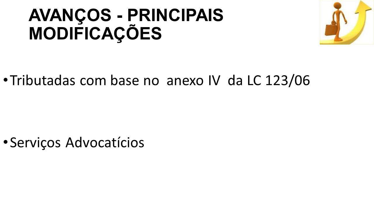 AVANÇOS - PRINCIPAIS MODIFICAÇÕES Tributadas com base no anexo IV da LC 123/06 Serviços Advocatícios