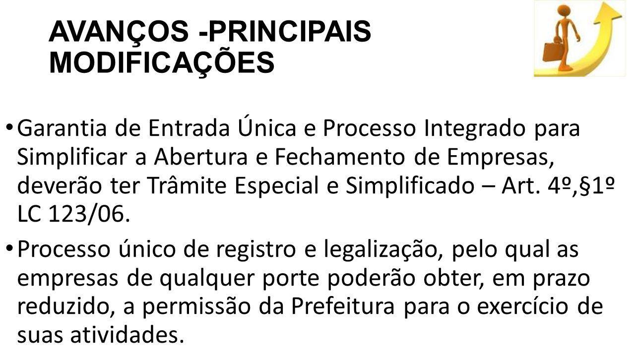 AVANÇOS -PRINCIPAIS MODIFICAÇÕES Garantia de Entrada Única e Processo Integrado para Simplificar a Abertura e Fechamento de Empresas, deverão ter Trâmite Especial e Simplificado – Art.