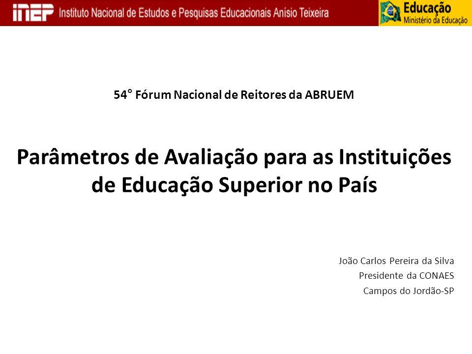 54° Fórum Nacional de Reitores da ABRUEM Parâmetros de Avaliação para as Instituições de Educação Superior no País João Carlos Pereira da Silva Presid