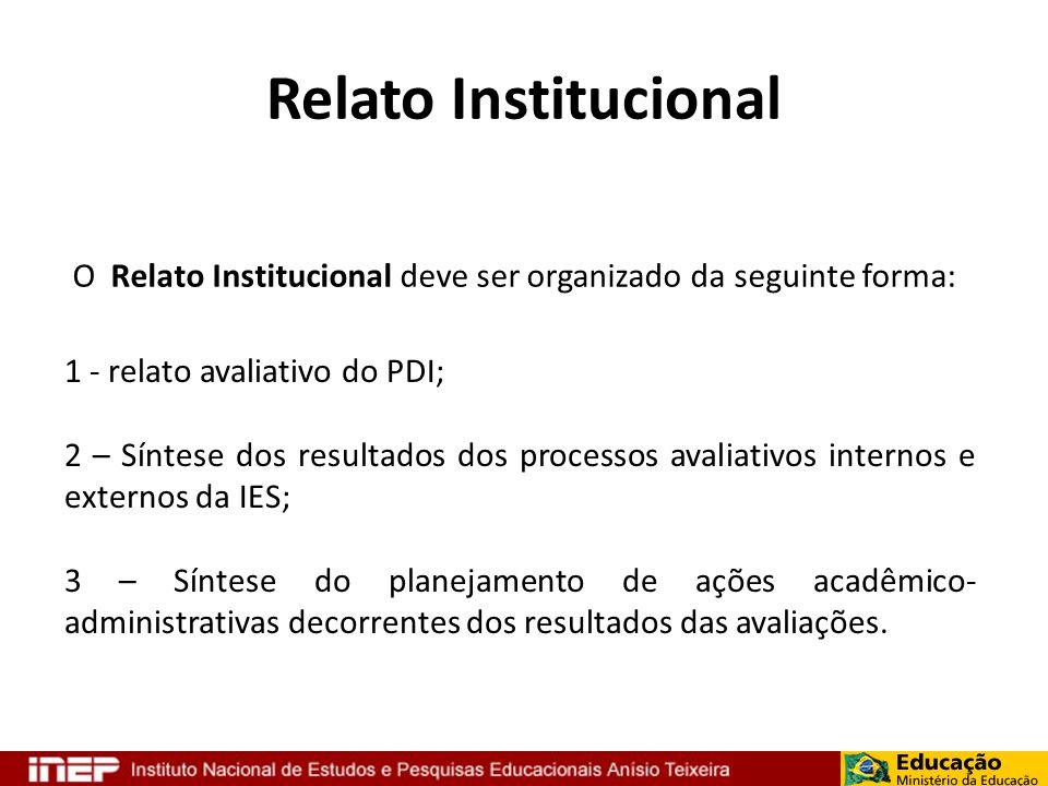 Relato Institucional O Relato Institucional deve ser organizado da seguinte forma: 1 - relato avaliativo do PDI; 2 – Síntese dos resultados dos proces
