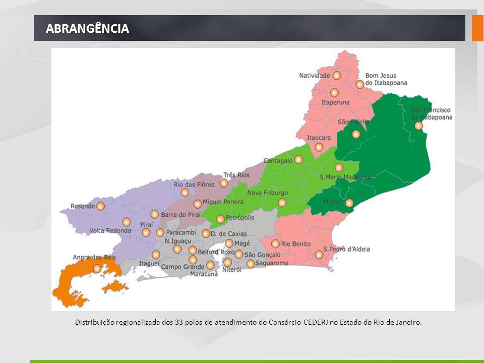 ABRANGÊNCIA Distribuição regionalizada dos 33 polos de atendimento do Consórcio CEDERJ no Estado do Rio de Janeiro.