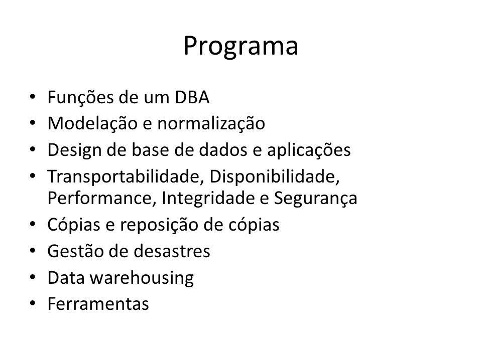 Programa Funções de um DBA Modelação e normalização Design de base de dados e aplicações Transportabilidade, Disponibilidade, Performance, Integridade e Segurança Cópias e reposição de cópias Gestão de desastres Data warehousing Ferramentas
