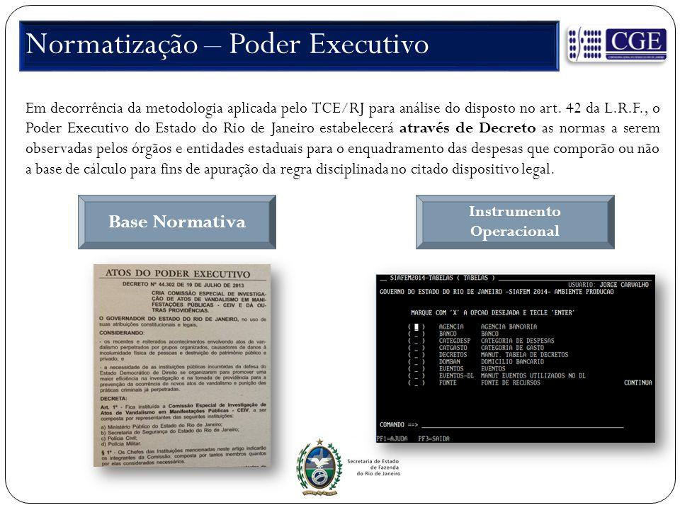 Normatização – Poder Executivo Em decorrência da metodologia aplicada pelo TCE/RJ para análise do disposto no art. 42 da L.R.F., o Poder Executivo do